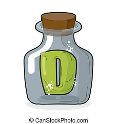 D in bottle. Green letter in blue glass jar. Magic potion bottle and a wooden stopper. Vector illustration of a laboratory flask vessel