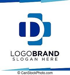 D Initial Letter cross medical logo vector template