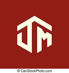 d, iniziale, m, vettore, lettera, logotipo, esagonale