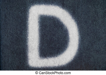 D isolated chalk letter in blackboard background