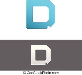 D Letter Alphabet Abstract vector text logo