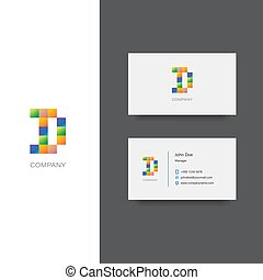 D letter company Logo and business card template