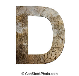 d letter cracked cement texture isolate