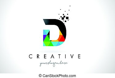 D Letter Logo with Colorful Triangles Texture Design Vector.