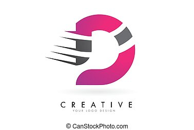 D Letter Logo with Pink and Grey Colorblock Design and ...