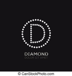 D letter with diamonds