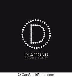 d, lettera, diamanti