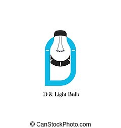 D-letter/alphabet icon and light bulb abstract logo design vector template.Corporate business and industrial logotype idea concept.