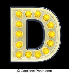 d, lettre, lumière, rendre, incandescent, retro, font., ampoule, 3d