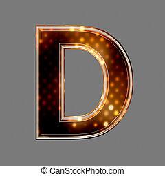 d, lumière, texture, incandescent, lettre, noël