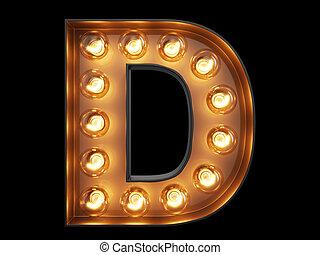 D, luz, carácter, alfabeto, bombilla, fuente