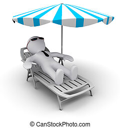 #D man on holidays under sun umbrella - 3D man on th ebeach...