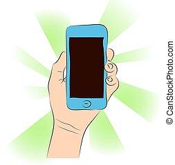 d, mano, teléfono celular, vector, hembra, (smartphone, touchscreen)