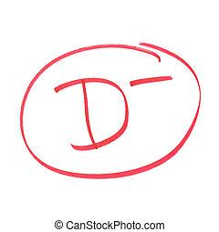 D Minus Grade - A handwritten grade for poor achievements.