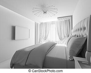 d, moderno, interpretación, 3, bedroom., interior