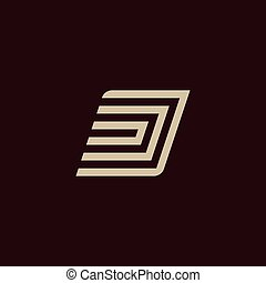 d., monogram, 珍しい, illustration., 色, アルファベット, シンボル, 活版印刷, 隔離された, 暗い, バックグラウンド。, ベクトル, 手紙, 幾何学的, 白, element.