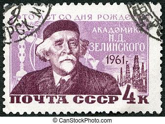 d., nikolai, 1961:, estampilla, -, 1961, químico, (1861-1953), zelinsky, impreso, nacimiento, u.r.s.s., siglo, hacia, exposiciones