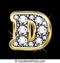 d, or, à, diamants, bling, vecteur