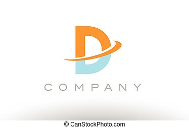 D orange blue logo icon alphabet design