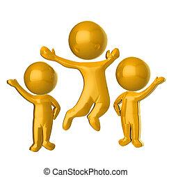 d, oro, gente, 3, logotipo, feliz