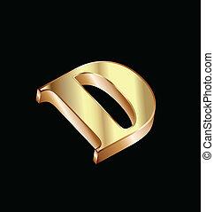 d, ouro, luxo, letra, fonte, tipo, ícone
