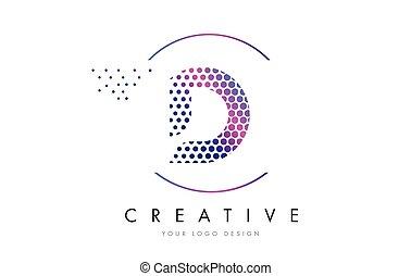 D Pink Magenta Dotted Bubble Letter Logo Design Vector - D...