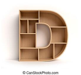 d, prateleira, fazendo, letra, fonte, 3d