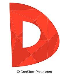 D red alphabet vector letter