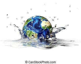 d, rendering, 形成, 清楚, 王冠, 深度, 行星, 背景。, 3, field., 水,...