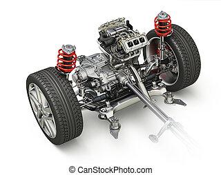 d, technisch, auto, rendering., wagen, part., 4x4, 3, onder...