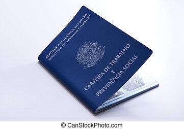d, trabalho, (carteira, brasileiro, segurança social,...