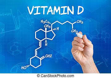 d, vitamina, mão, químico, caneta, fórmula, desenho