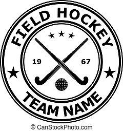 d1504-19p5n4 - Black badge emblem design field hockey. ...