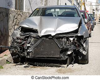dañado, coche, después, un, accidente