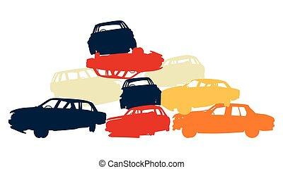 dañado, coche, pila, en, yarda que destruye, colorido,...