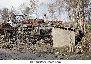 dañado, desastre natural, aldea