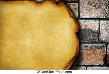 dañado, elementos, viejo, pared, papel, ladrillo