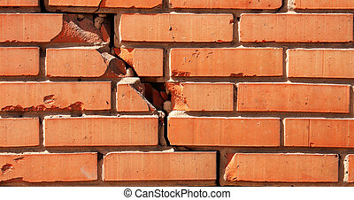 dañado, pared ladrillo