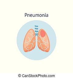 dañado, pulmones, sano, enfermedad, ilustración, diagrama, ...