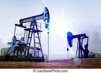 daño ambiental, de, viejo, petróleo bombea
