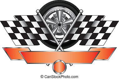 da corsa, disegno, con, ruota