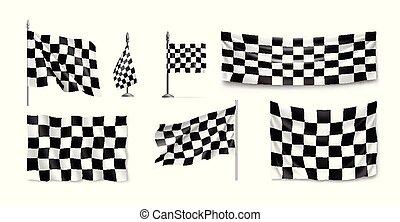 da corsa, set, bandiere, realistico