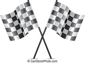 da corsa, vettore, bandiere, icona