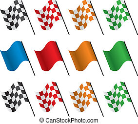 da corsa, vettore, bandiere