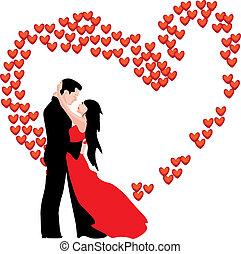 da, love., woman., hombre, valentino