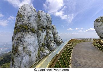 Da Nang, Vietnam - October 31, 2018: Golden Bridge, a...