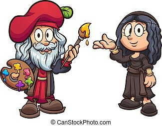 Cartoon boy and girl disguised as Leonardo da Vinci and the Mona Lisa clip art. Vector illustration with simple gradients. Each on a separate layer.