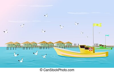 daar, zeilend, hemel het vliegen, seagulls, achtergrond., avond, visserij, zee, dorp, bootjes