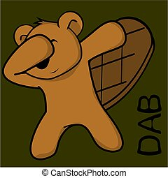 dab dabbing pose beaver kid cartoon - dab dabbing pose...