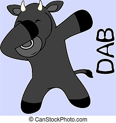 dab dabbing pose bull kid cartoon in vector format very easy...